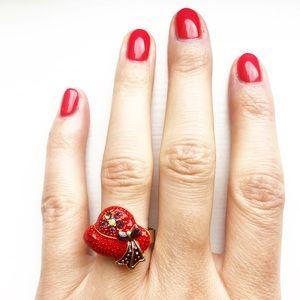 Vintage enamel Red Hat Society adjustable ring